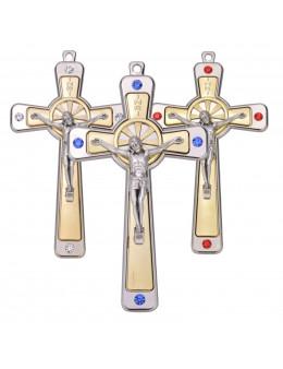 Crucifix / croix métal argenté et doré avec brillants 12 cm
