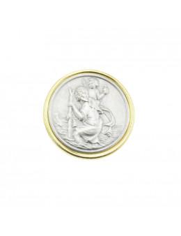 Magnet Saint Christophe rond serti métal doré