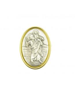 Magnet Saint Christophe ovale serti métal doré