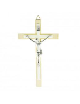 Crucifix / croix en bois clair avec croix en résine et Christ en métal argenté