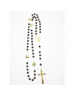 Chapelet perles bois foncé et paters coeurs dorés gravés de l'Apparition