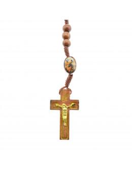 Chapelet corde et perles de bois rondes Marie qui défait les noeuds