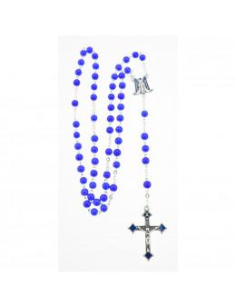 Chapelet chaîne avec perles de verre bleu, coeur smalto et Vierge Miraculeuse