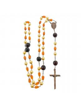 Chapelet de prestige, perles couleur ambre, avec boit