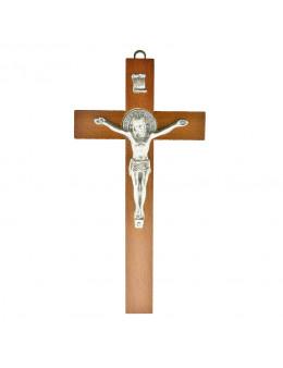 Crucifix / Croix bois acajou Saint Benoit