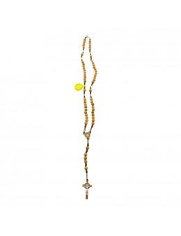 Chapelet Saint Benoit corde et bois d'olivier ciselé avec fermoir mousqueton