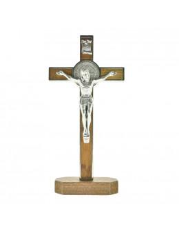 Calvaire / Crucifix sur pied / Croix sur pied St Benoit en métal et bois