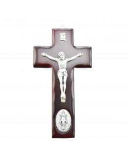 Crucifix / Croix bois orné médaille Vierge Miraculeuse