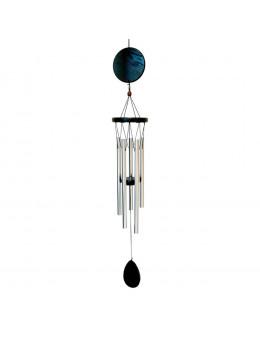 Carillon cercle métal et bois noir - 5 branches
