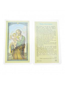 Carte plastifiée Saint Joseph avec prière au dos 11 x 6 cm