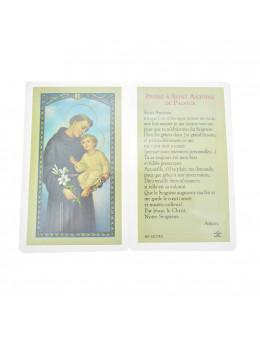 Carte plastifiée Saint Antoine avec prière au dos 11 x 6 cm