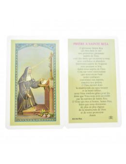 Carte plastifiée Sainte Rita avec prière au dos 11 x 6 cm