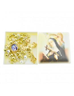 Chapelet Sainte Rita chaîne avec perles dorées avec boite