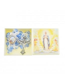 Chapelet Echelle du paradis chaîne avec perles bleues avec boite