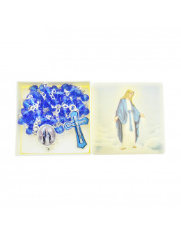 Chapelet Vierge miraculeuse chaîne avec perles bleues avec boite