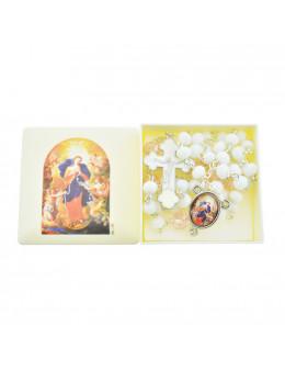 Chapelet Marie qui défait les noeuds chaîne avec perles blanches avec boite