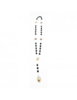 Chapelet Sacré coeur de Marie chaîne et perles de bois noir
