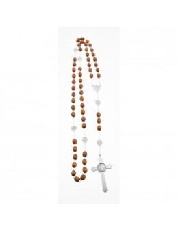 Chapelet Saint Benoit chaîne et perles de bois rouge