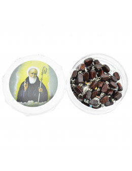 Chapelet Saint Benoit chaine et perles bois acajou rectangulaires