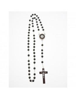 Chapelet Vierge Miraculeuse chaîne et perles de bois acajou