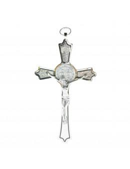 Crucifix / Croix de Saint Benoit métal chromé 20 cm