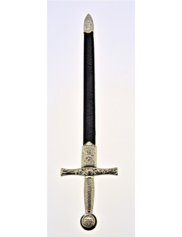 Dague maçonnique argentée avec fourreau en simili cuir noir