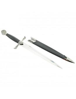 Dague maçonnique avec fourreau et pommeau en simili cuir noir, symboles franc-maçons gravés
