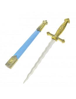 Dague maçonnique, fourreau bleu, symbole franc-maçons, lame flamboyante