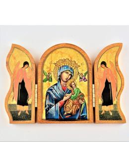 Image sainte sur bois triptyque - Perpétuel Secours