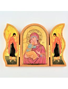 Image sainte sur bois triptyque - Vierge et enfant