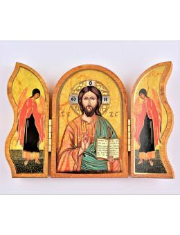 Image sainte sur bois triptyque - Pantocrator