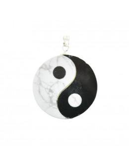 Pendentif Ying-yang marbre et onyx noir