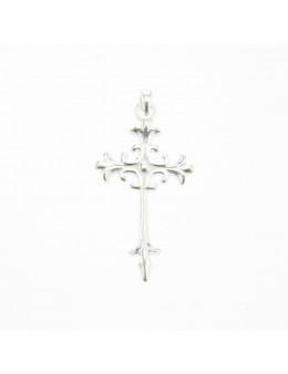 Pendentif croix chrétienne fleurs de lys argent 925