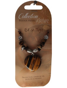 Collier pendentif coeur Oeil de tigre et perles baroques