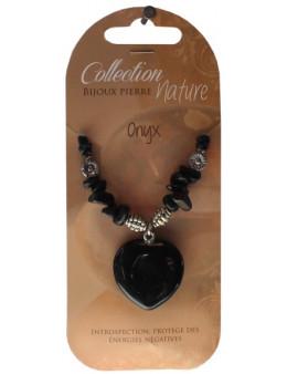 Collier pendentif coeur Onyx noir et perles baroques