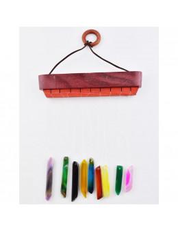 Carillon lamelles taillées agates colorées