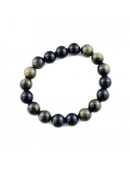Bracelet perles Obsidienne oeil céleste 12 mm