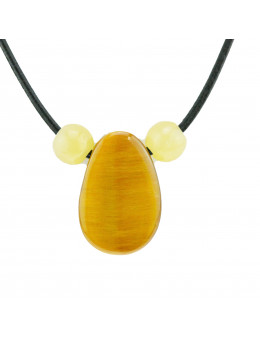 Collier corde et pierres, composition unique Oeil de tigre et calcite jaune