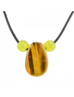 Collier corde et pierres, composition unique Oeil de tigre et jade