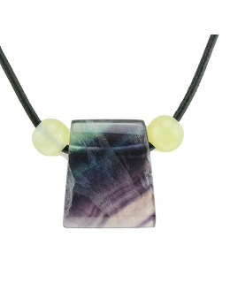 Collier corde et pierres, composition unique Fluorite et Jade