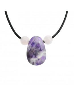 Collier corde et pierres, composition unique Améthyste et quartz rose