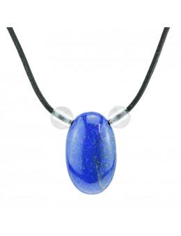 Collier corde et pierres, composition unique Lapis Lazuli et cristal de roche