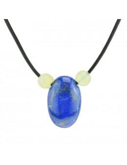 Collier corde et pierres, composition unique Lapis Lazuli et Jade