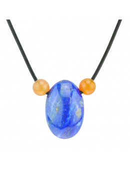 Collier corde et pierres, composition unique Lapis Lazuli et calcite orange