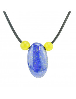 Collier corde et pierres, composition unique Lapis Lazuli et calcite jaune