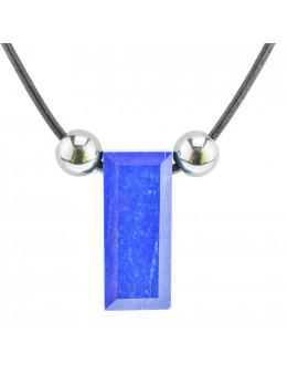 Collier corde et pierres, composition unique Lapis Lazuli et hématite