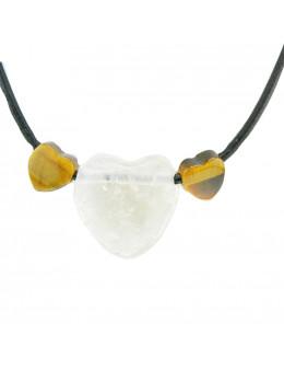 Collier corde et pierre forme coeur, composition unique Cristal de roche et Oeil de tigre