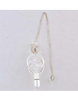 Pendule Merkaba spécial Cristal de roche chaîne argentée