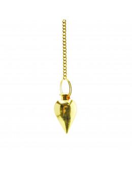 Pendule métal doré goutte petit format avec chaîne dorée