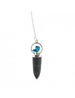 Pendule en tourmaline et métal argenté avec cristaux d'azurite